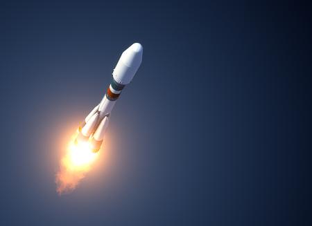 interplanetary: Heavy Carrier Rocket Takes Off. 3D Scene.