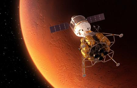 interplanetary: Interplanetary Space Station Orbiting Red Planet. 3D Scene.
