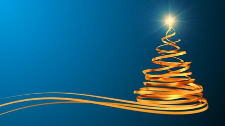 mo�os navide�os: �rbol de Navidad de las cintas de oro sobre fondo cian. Escena 3D.