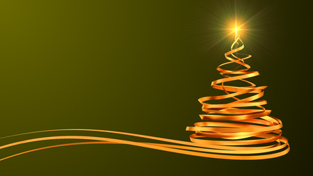 tree line: Christmas Tree From Gold Tapes Over Green Background. 3D Scene. Stock Photo