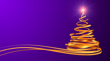 morado: �rbol de Navidad de las cintas de oro sobre fondo p�rpura. Escena 3D.