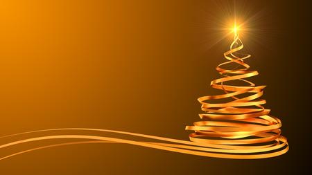 Kerstboom Van Goud Tapes over gele achtergrond. 3D-scène.