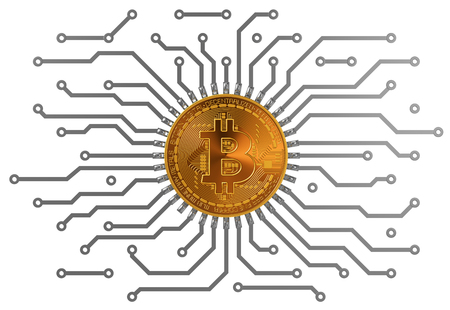 Bitcoin Circuit Over White Background. 3D Scene.