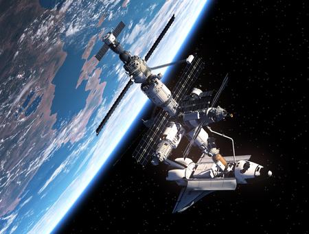 우주 왕복선과 우주 정거장. 3D 장면.