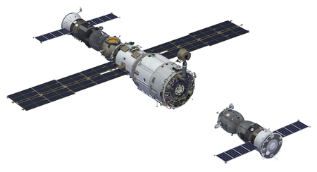 soyuz: Space Station And Spacecraft. 3D Model Over White Background.