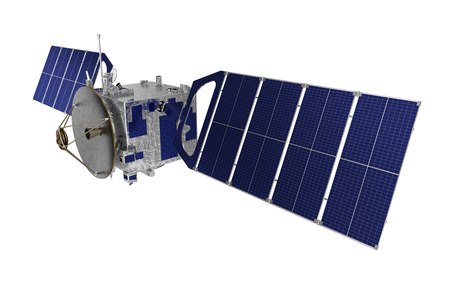 Satellite Over White Background. Realistic 3D Model.