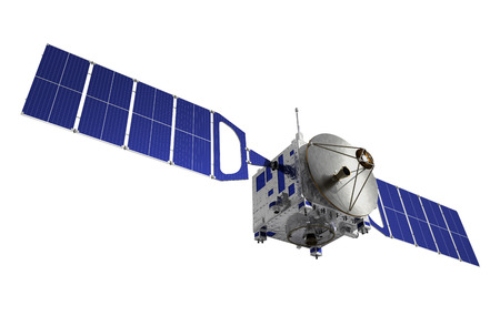 satellite tv: Communication Satellite. 3D Model Over White Background.