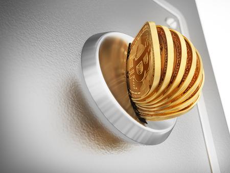 crypto: Putting Many Bitcoins Into Coin Slot. 3D Scene.