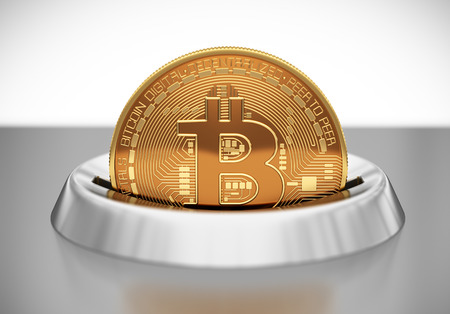 multiplicity: Putting Bitcoin Into Coin Slot. 3D Scene.