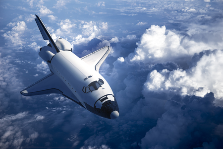 spaceships: Space Shuttle Landing In The Clouds. 3D Scene.