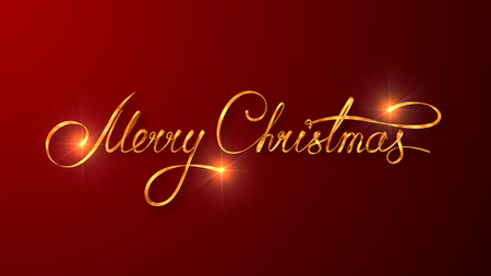 text 3d: Gold Text Design Of Merry Christmas On Red Color Background. 3D Scene.