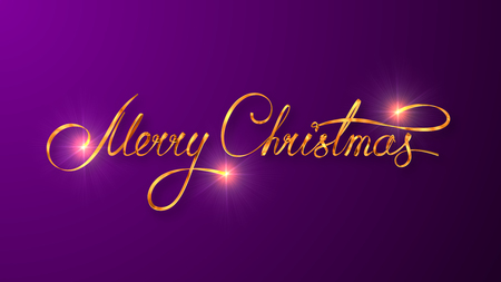 background purple: Gold Text Design Of Merry Christmas On Purple Color Background. 3D Scene. Stock Photo