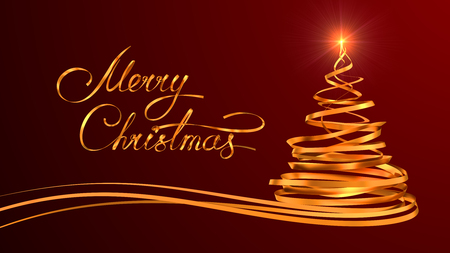 gold tree: Gold Text Design Of Merry Christmas And Christmas Tree From Gold Tapes Over Red Background. 3D Scene.