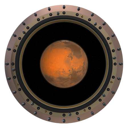 spaceship: Red Planet In The Spacecraft Porthole. 3D Scene. Stock Photo