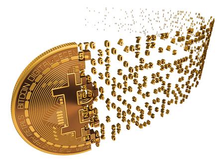 Bitcoin die naast cijfers op witte achtergrond valt. 3d model. Stockfoto