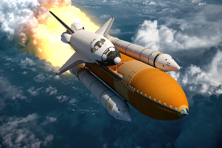 blast off: Space Shuttle Flying Over The Clouds. 3D Scene.