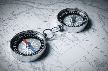 north arrow: Two Linked Compass On The Map. 3D Scene.