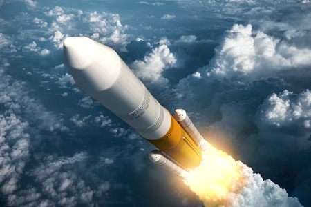 spaceships: Cargo Launch Rocket Takes Off. 3D Scene.