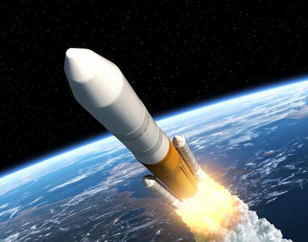 cohetes: Lanzamiento de carga de cohetes de lanzamiento. Escena 3D realista.