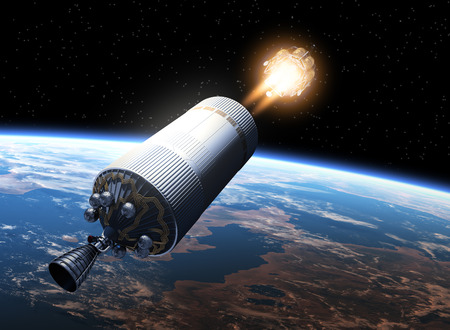 engines: Space Station Launch Orbiting Earth. 3D Scene.