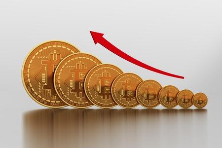 incremento: Concepto de aumento del costo de Bitcoin. Escena 3D. Foto de archivo
