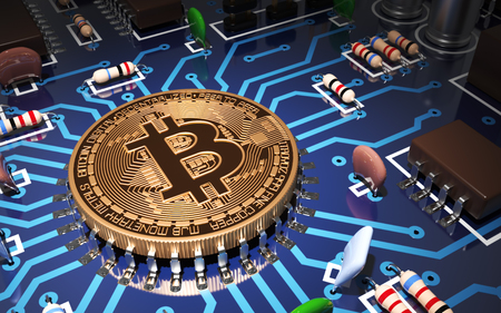 Concept Of Bitcoin Like CPU On Motherboard. 3D Scene. Stockfoto