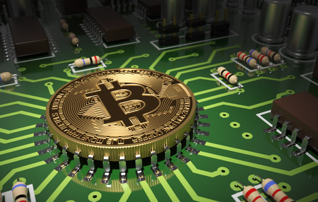 Concept Of Bitcoin Like A Computer Chip On Motherboard. 3D Scene.