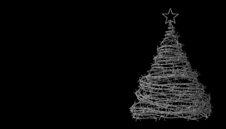 poverty: Christmas Tree Made From Barbed Wire On Black Background. 3D Model.