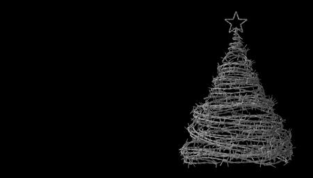 pobreza: Árboles de Navidad de alambre de púas en el fondo Negro. modelo 3d.