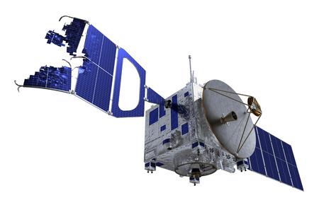 satellite 3d: Crashed Satellite. 3D Model Over White Background.