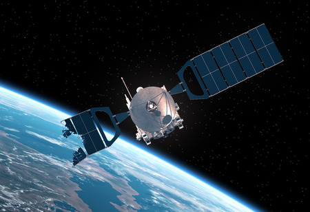 orbital spacecraft: Crashed Satellite Orbiting Earth. Realistic 3D Scene.