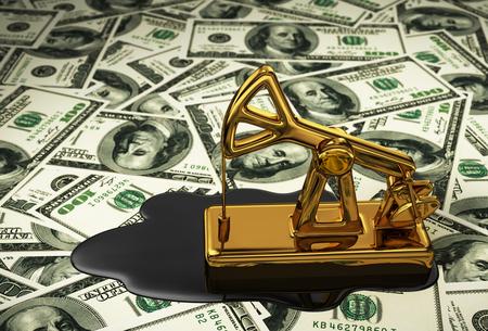 barril de petróleo: Pumpjack de oro y el aceite derramado en el dólar. Escena 3D.