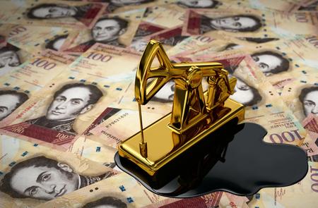 Gouden jaknikker en gemorste olie op Venezolaanse Bolivars. 3D-scène.