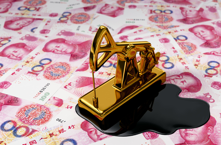 oil pump: Golden Pumpjack And Spilled Oil On Yuan . 3D Scene. Stock Photo