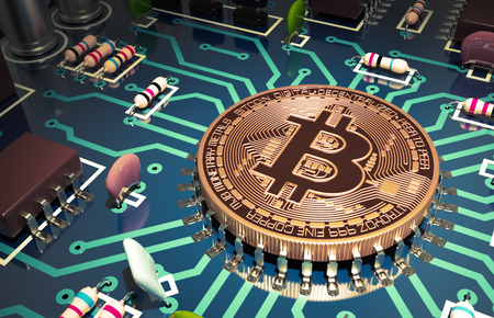 Bitcoin Net als een computerchip op het moederbord. 3D-scène.