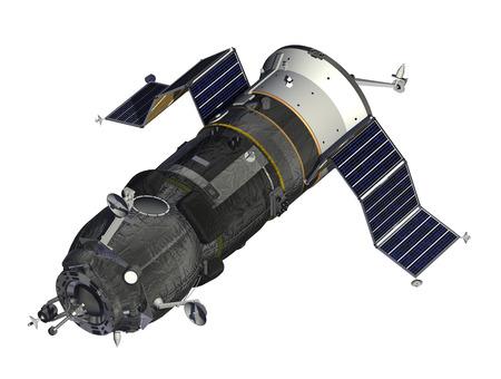 orbital station: Cargo Spacecraft Deploys Solar Panels. 3D Model.