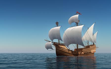 Caravel In The Blue Sea. 3D Scene.