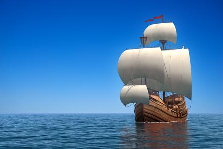 caravelle: Caravel dans l'océan. Scène 3D réaliste. Banque d'images