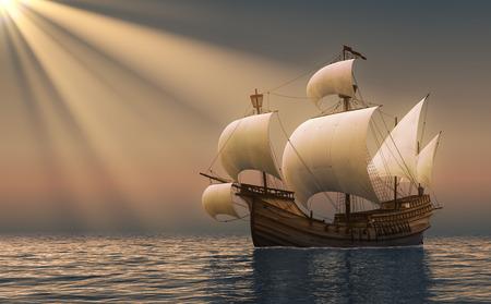 Caravel In Rays Of the Sun. 3D Scene.