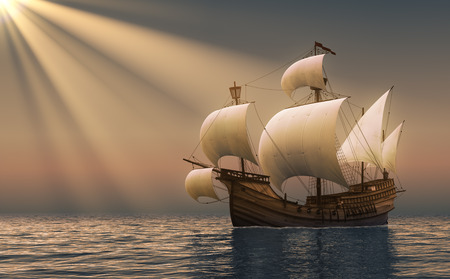 ship anchor: Caravel In Rays Of the Sun. 3D Scene.