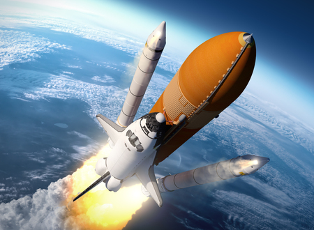 blast off: Space Shuttle Solid Rocket Boosters Separation. 3D Scene.