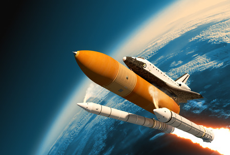 endeavor: Space Shuttle Solid Rocket Boosters Separation In Stratosphere. 3D Scene.