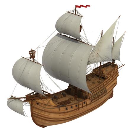 Caravel met witte zeilen. 3D-model op witte achtergrond. Stockfoto