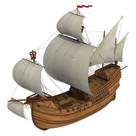 caravel: Caravel With White Sails. 3D Model Over White Background.