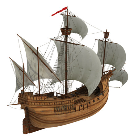 Caravel. Realistische 3D-model op witte achtergrond. Stockfoto