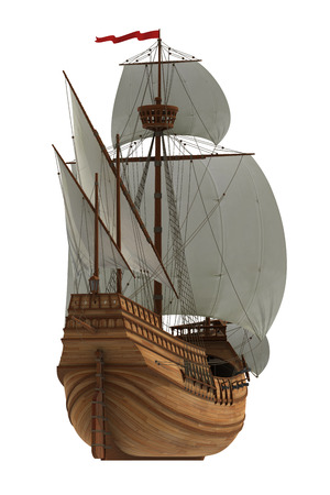 caravel: Old Caravel On White Background. 3D Model. Stock Photo