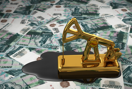 pumpjack: Golden Pumpjack And Spilled Oil Over Russian Rubles. 3D Scene.