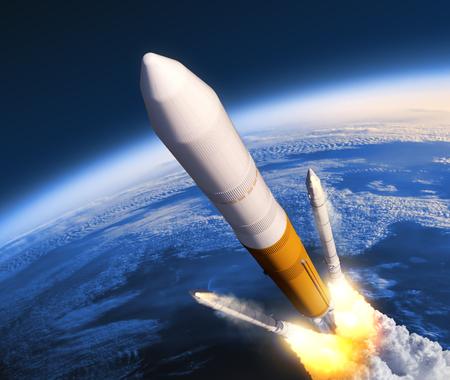 Solid Rocket Boosters Separación. Escena 3D realista.