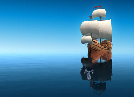 caravel: Sailing Ship And Its Reflection In The Form Of A Pirate Ship. 3D Scene.
