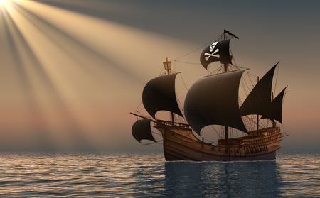 sailing ship: Pirate Ship In Rays Of the Sun. 3D Scene. Stock Photo